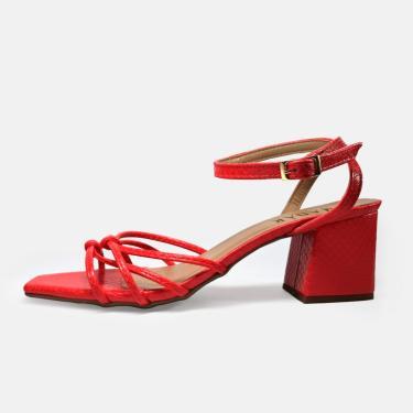 Sandália feminina Madár vermelha - Cobra Cereja 50023  feminino