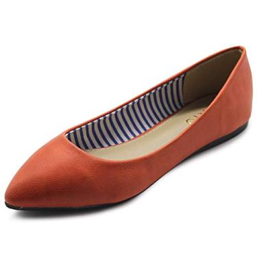 Sapatilha feminina Ollio Ballet Comfort Basic Light multicolorida plana, Vintage Orange, 6
