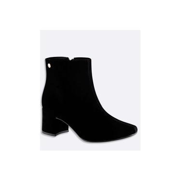 Bota Feminina Ankle Boot Nobuck Salto Grosso Via Uno