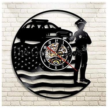 Imagem de Relógio com temas de música da bandeira e da polícia, ideia de presentes para amantes de música, homens, mulheres, adolescentes e crianças, arte com tema vintage exclusivo, preto, 30 cm