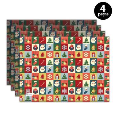Imagem de Jogo Americano Mdecore Natal Papai Noel 40x28 cm Vermelho 4pçs