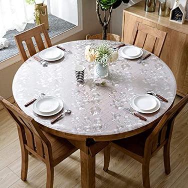 Imagem de Toalha de mesa de vinil com forro de flanela redonda de 80 cm, poliéster lavável à prova de derramamento de água, tecido decorativo de toalha de mesa, capa de mesa para mesa de jantar, festa