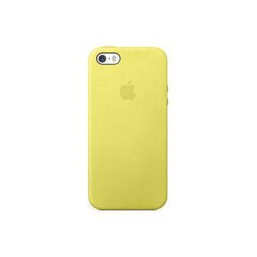 Capa Case Capinha Silicone Aveludado Iphone 5s Amarelo