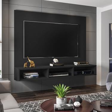 Painel Móveis Leão Quartzo para TV até 55 Polegadas - Preto