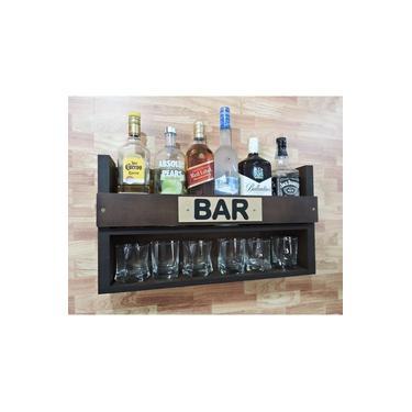 Imagem de Mini Bar Barzinho Suspenso De Parede Adega Vinhos Bebidas Madeira MDF 60x35cm Tabaco Fosco