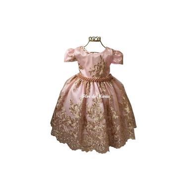 Vestido Infantil Festa Realeza Princesa Rosa Dourado Luxo