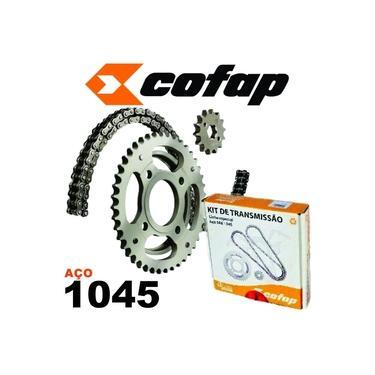 Kit Relação Transmissão Tração Cofap Aço 1045 Corrente Corroa e Pinhão Honda Xre 300