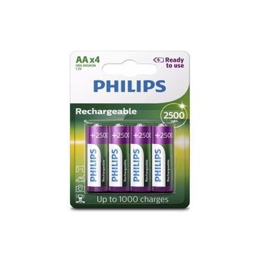 Pilha Recarregável AA Com 4 Pilhas de 2500Mah Philips Hr6 Mignon 1,2v NiMH para Máquina Fotográfica Filmadora Lanternas Caixas de Som Controles Alta Capacidade