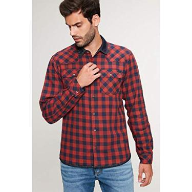 Camisa Jeans Dupla Face Xadrez Masculina Tam: M/Cor: VERMELHO/MARINHO