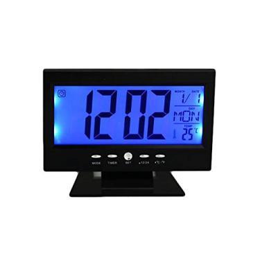 Imagem de Relógio Digital Calendário Despertador Preto