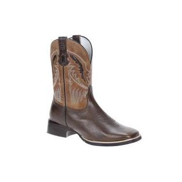 Bota Masculina Bico Quadrado Western Cano Longo Couro Marrom - Via Boots  18774 24c62592ed9