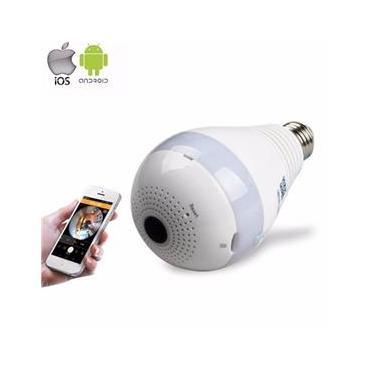 Lâmpada IP Wifi Oculta Micro Câmera Espiã Sem Fio Spy Cam 360