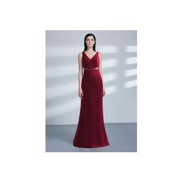 Vestido Madrinha Festa Longo Vermelho Marsala Sereia