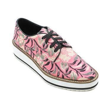 SHELLYS LONDON Sapato Oxford plataforma floral rosa com cadarço da Dada, rosa, 10