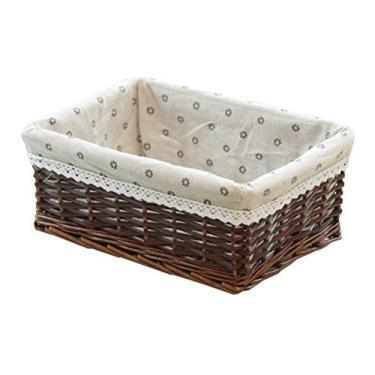 Imagem de DOITOOL Cesto de armazenamento de vime, organizador de roupa quadrado, caixa de tecido, cesta de erva marinha para quarto, organizador de sala de estar
