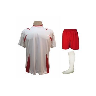 Imagem de Uniforme Esportivo Completo modelo Palermo 14+1 (14 camisas Branco/Vermelho + 14 calções Madrid Vermelho + 14 pares de meiões Brancos + 1 conjunto de goleiro) +