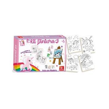 Imagem de Kit Pintura Para Colorir Infantil Mini Cavalete Unicórnio - Brincadeira de criança
