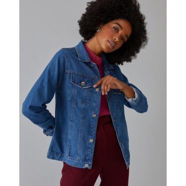 jaqueta jeans basic Feminino AMARO AZUL MÉDIO G