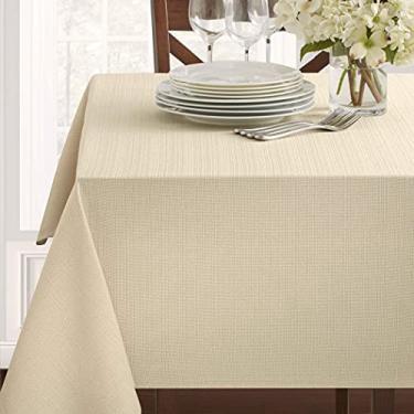 Imagem de Benson Mills Toalha de mesa de tecido texturizado (152,4 cm x 264,2 cm Retangular, Linho/Bege/Castanho-Acinzentado)