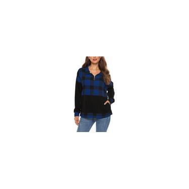 Camisa xadrez feminina com zíper colorido bloco remendos de cotovelo moletom Top