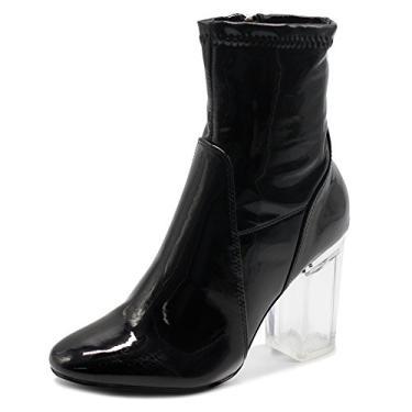 Bota feminina Ollio esmalte ou camurça sintética com zíper lateral e salto alto transparente, Black-pu, 7.5