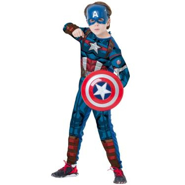 Fantasia Capitão América Clássico Infantil Longo Com Escudo e Máscara - G 9 - 12