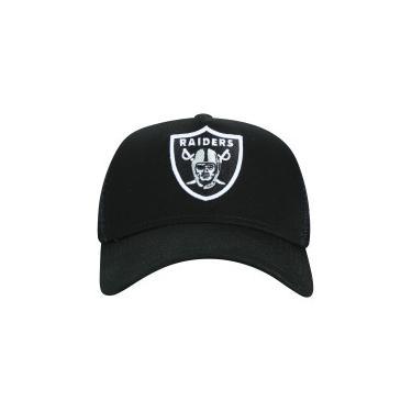 8fdf5adc44283 Boné Aba Curva New Era 940 Oakland Raiders - Snapback - Trucker - Adulto -  PRETO