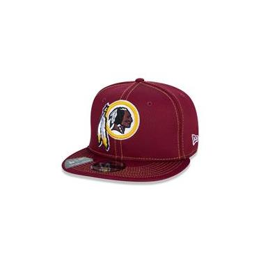 Bone 9Fifty Ajustavel Nfl On-Field Colecao Sideline Washington Redskins Aba Reta Vermelho Escuro New Era