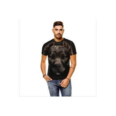 Camiseta Cachorro Pitbull Preto Cinza Masculina
