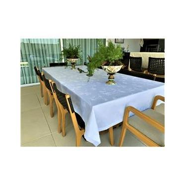 Imagem de Toalha De Mesa Impermeavel Retangular 160x270 Lyric Branca - Pietra Home
