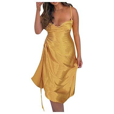 Imagem de SLENDIPLUS Vestido feminino sexy, sem mangas, estampa de leopardo, tiras, vestido colado ao corpo, Dourado, XXG