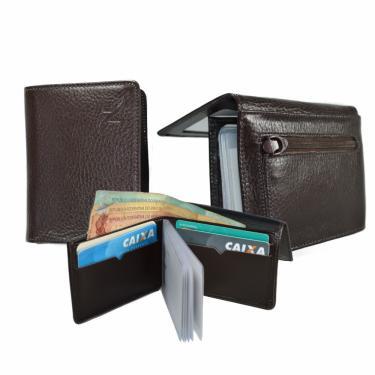 Carteira Masculina Couro Legítimo Slim Porta Cartão CNH Moedas Café nz001