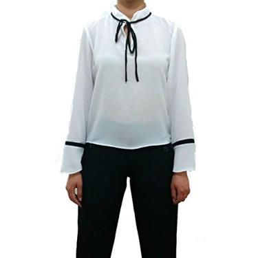 Camisa Vitória manga Longa em Crepe (P, Branco)