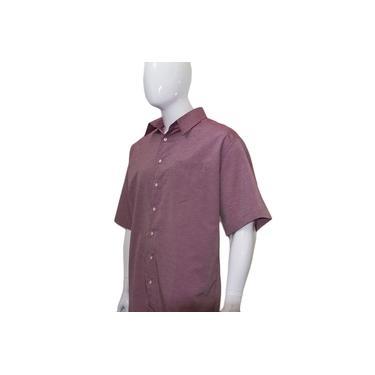 Camisa Social Masculina Manga Curta Plus Size Extra Grande Vermelho Terracota Bom Pano