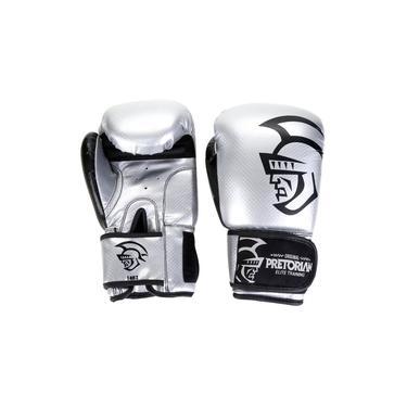 Luva Boxe/Muay Thai Pretorian Elite Prata e Preto 14 Oz