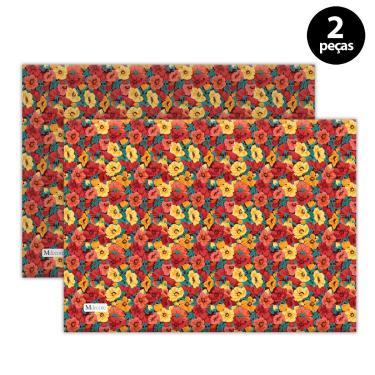 Imagem de Jogo Americano Mdecore Floral 40x28 cm Vermelho 2pçs