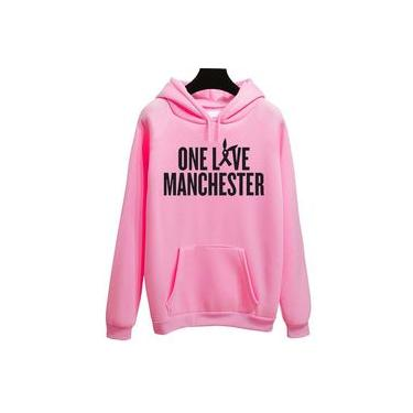Moletom Unissex Canguru Rosa Ariana Grande One Live Manchester