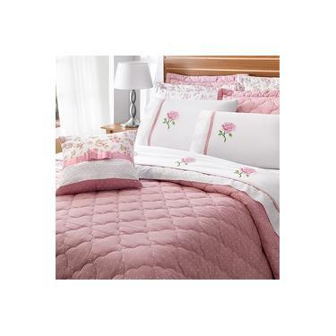 Imagem de Roupa de Cama Noah Queen 11 Peças Branco e Rosé Casa Dona