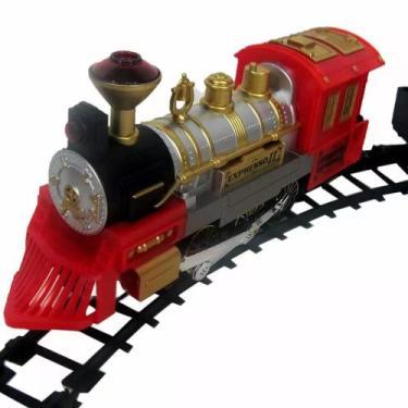 Imagem de Ferrorama Locomotiva Elétrica 2 Trem Máquina Trilhos Vagões - Braskit