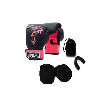 Imagem de Kit Boxe Muay Thai Luva Bandagem Bucal Brazuca - Rosa 14oz