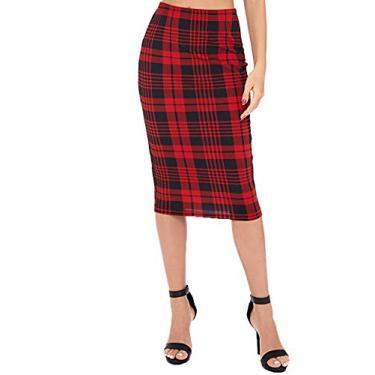Floerns Saia lápis feminina com cintura alta e estampa xadrez, Red Plaid, XL