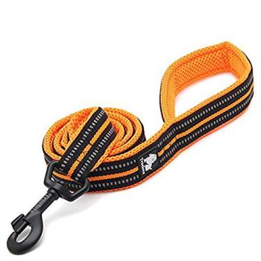 Coleira refletiva para cães, chumbo para caminhada, corda acolchoada para corrente de animais de estimação, comprimento 200 cm, Truelove TLL2111 (laranja, G)