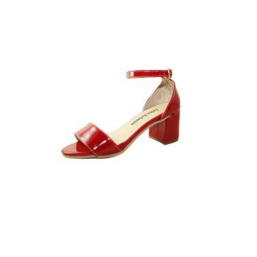 Sandália Salto Grosso Luiza Sobreira Verniz Vermelho Mod.4075  feminino