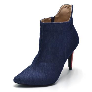 Bota Flor da Pele Jeans Azul-Marinho  feminino