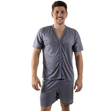 Pijama Masculino Curto de Botão (GG, Cinza)