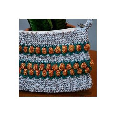 Carteira de Mão em Crochê Cru e Terra - Tulipas