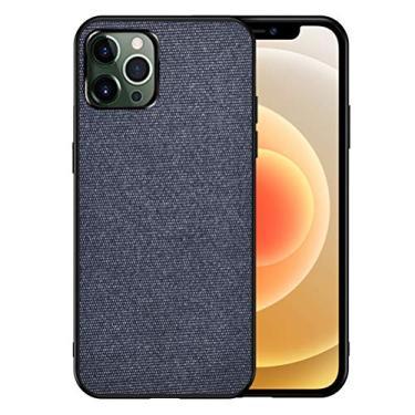 Grandcaser Capa para iPhone 12 Pro Max ultrafina de tecido de feltro anti-impressão digital absorção de choque capa protetora para iPhone 12 Pro Max de 6,5 polegadas – Azul