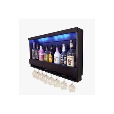 Imagem de Barzinho Adega de Parede Luxo Para 8 Garrafas e Taças Com LED Azul - Palleter