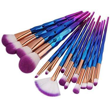 Pincéis de Maquiagem kit completo com 15 pincéis em lindíssimo formato de chifres de unicórnio (Púrpura e rosa)