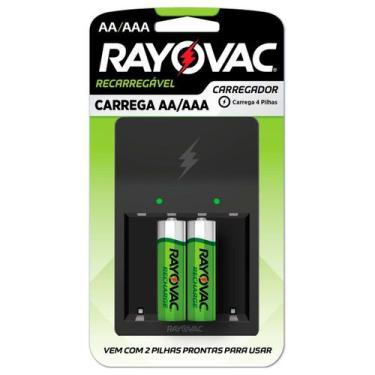 Carregador de pilhas aa/aaa com 2 pilhas aa bivolt ps132-2br - Rayovac